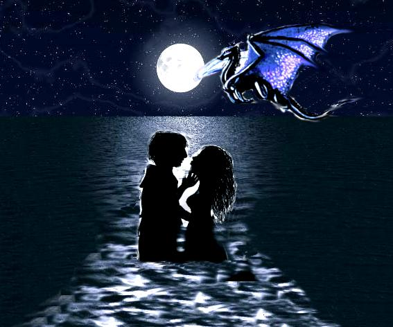 Young couple in the Lake as a dragon flies past the moon