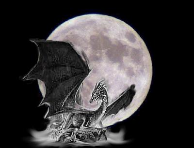 Dragon against the moon